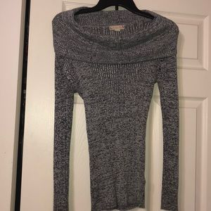 Stretchy off the shoulder winter sweater!